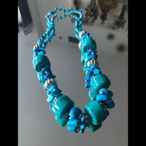 Anthropology turquoise blue summer necklace